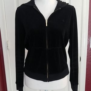 Lauren Ralph Lauren Black Velour Hoodie Small